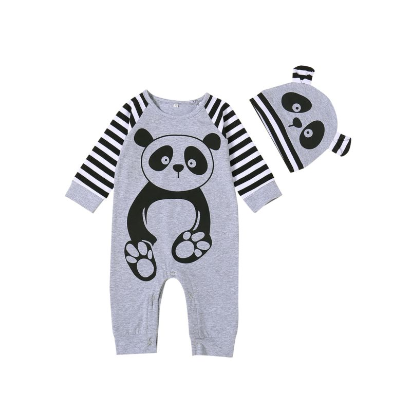 2-Piece Panda Style Infant Sleepsuit with Hat