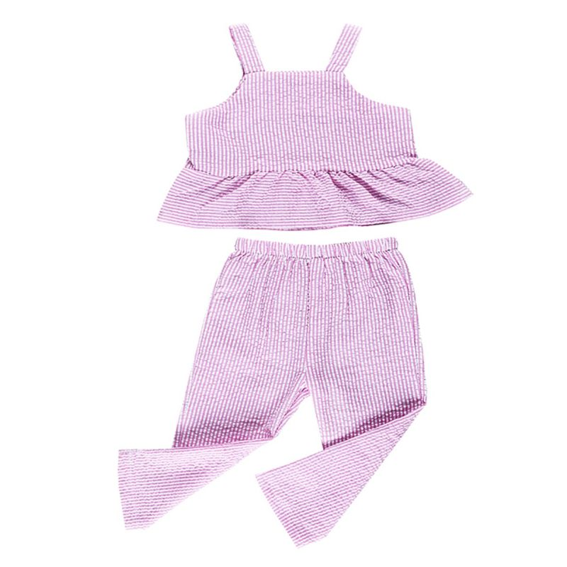 2-piece Fashion Toddler Infant Girl Summer Clothing Outfits Set Striped Crop Top + Trousers