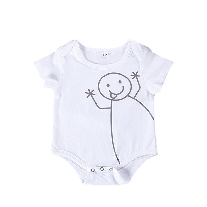 Summer Newborn Baby Short-sleeved Cartoon Bodysuit