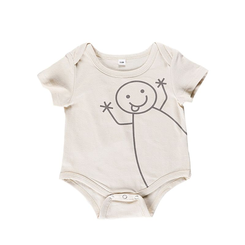 Summer Newborn Infant Short-sleeved Cartoon Onesie
