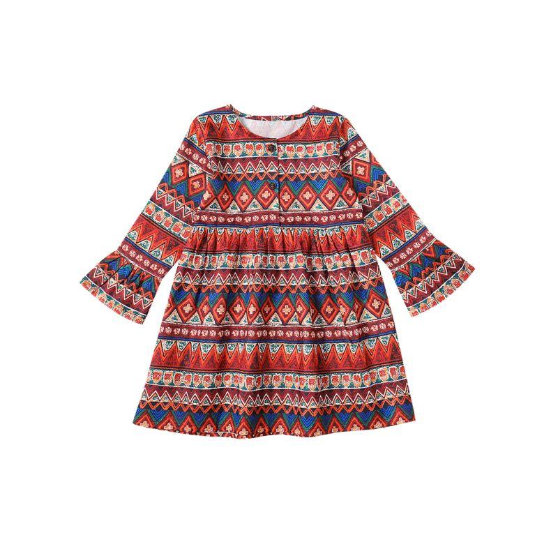 Vintage Baby Little Big Girls Bell-sleeved Shift Dress