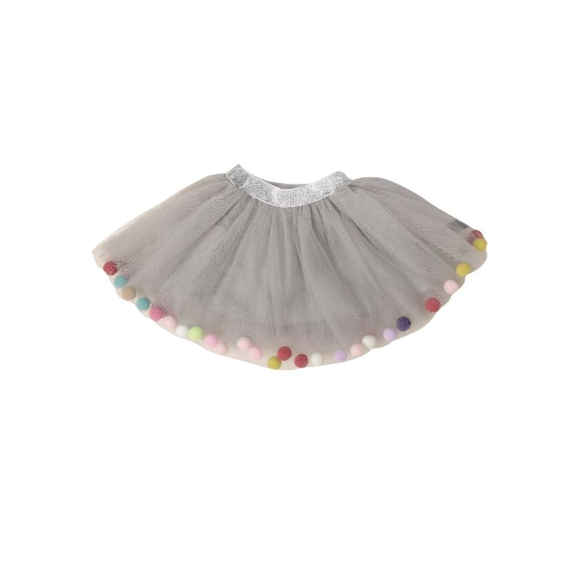 Baby Toddler Big Girl Pom Pom Trimmed Mesh Skirt Kids Dancing Skirt