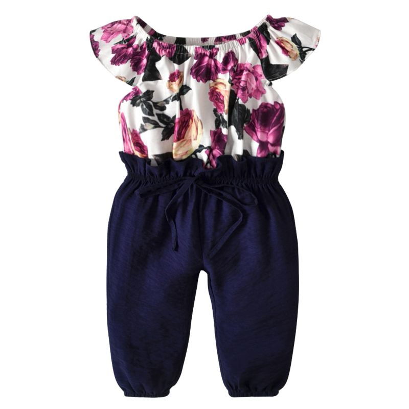 Toddler Baby Girl Short-sleeved Flower Print Off-shoulder Jumpsuit Overalls