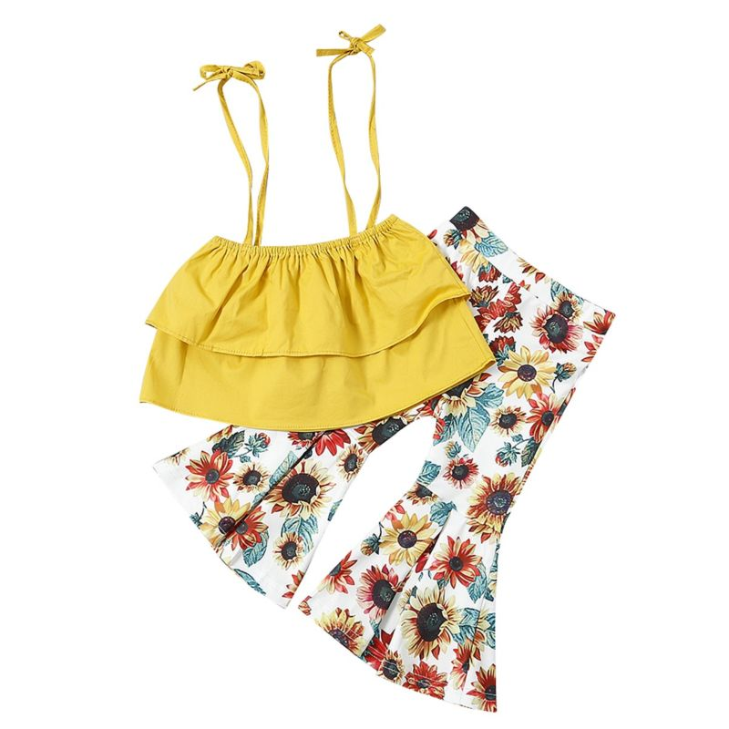 2-Piece Fashion Infant Toddler Big Girl Yellow Crop Top + Flower Flared Trousers