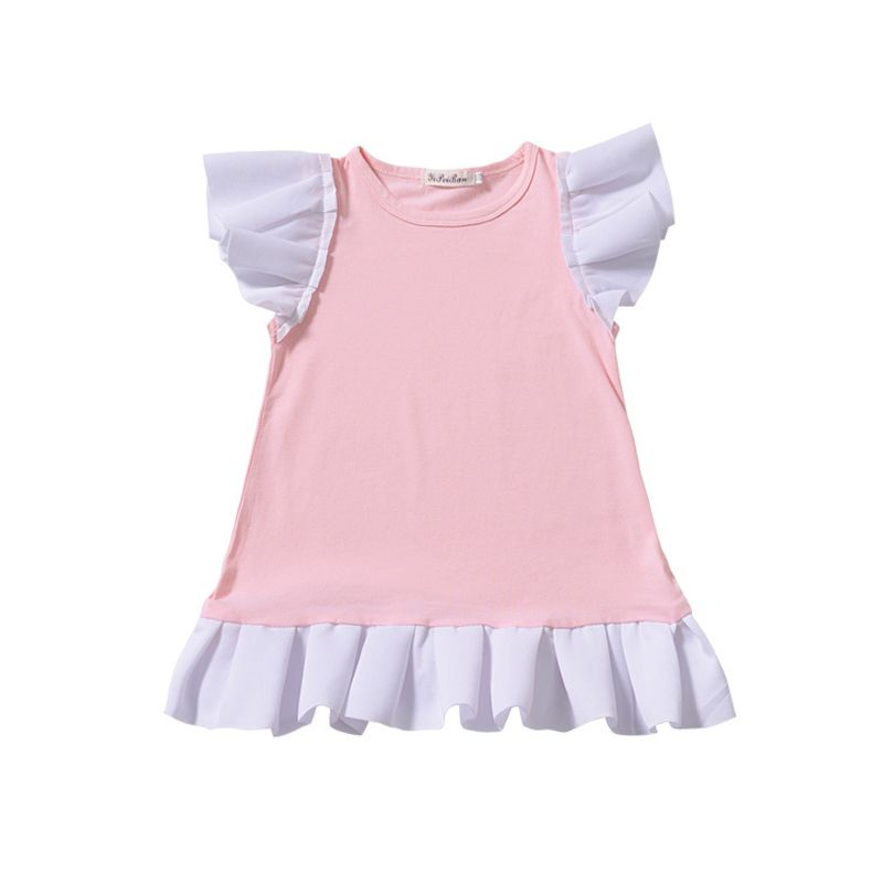 Toddler Baby Girl Short Flutter Sleeve Color-blocking Ruffle One-Piece Dress