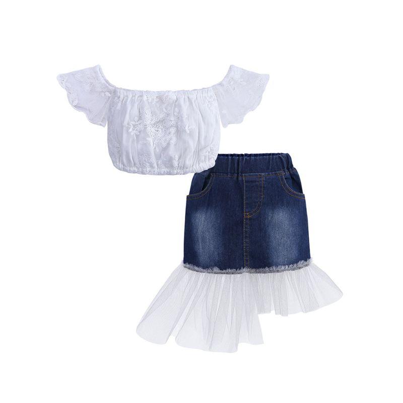2-Piece Fashion Baby Toddler Big Girl White  Off-shoulder Flower Crop Top + Asymmetrical Hemline Patchwork Jean Skirt Set