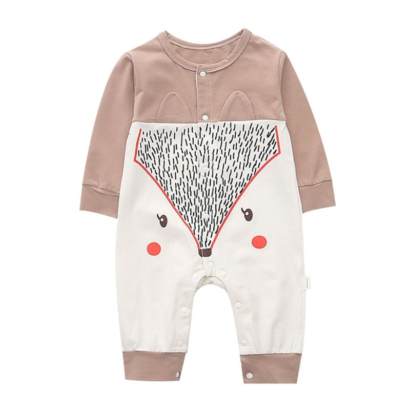 Spring Long-sleeved Cartoon Fox Pattern Baby Sleepsuit Overalls