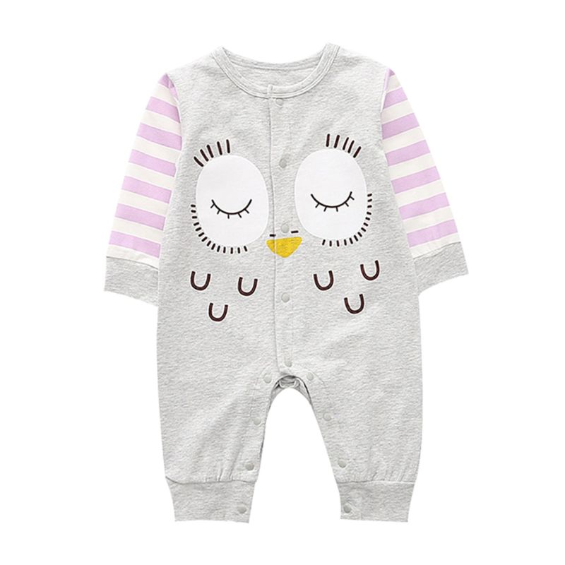 Cartoon Owl Pattern Newborn Infant Overalls Jumpsuit Long-sleeved