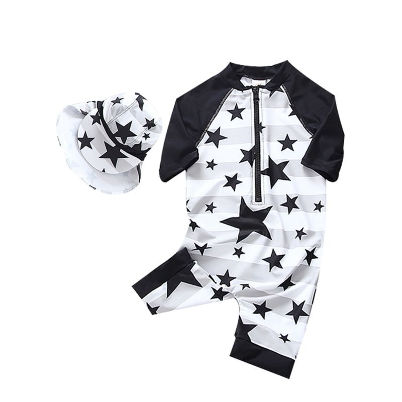 2-Piece Toddler Baby Boys Star Surfing Wetsuit Swimwear + Sun Protection Hat