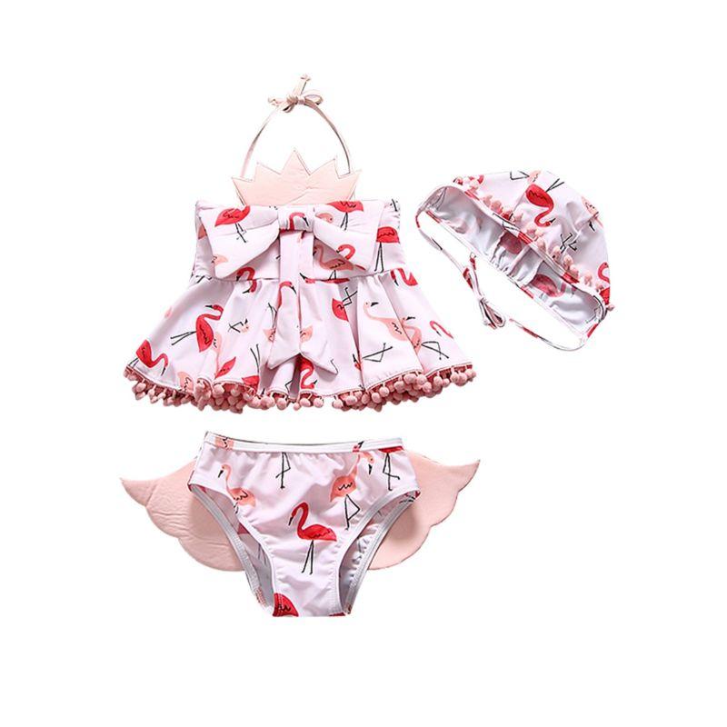 3-Piece Toddler Baby Girl Flamingo Print Swimwear Set Pom Pom Trimmed Halter Neck Top + Angel's Wings Pattern Shorts +Swim Hat