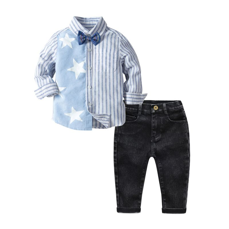 3-Piece Spring Toddler Big Boys Star Striped Print Long-sleeved Shirt with Bow Tie+Black Jeans Set