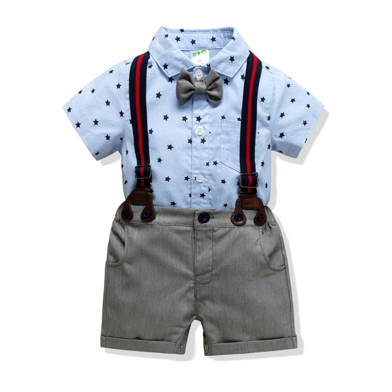 4-Piece Baby Boys Summer Clothes Outfits Set Short-sleeved Turn Down Collar Star Bodysuit + Braces Shorts + Bow Tie