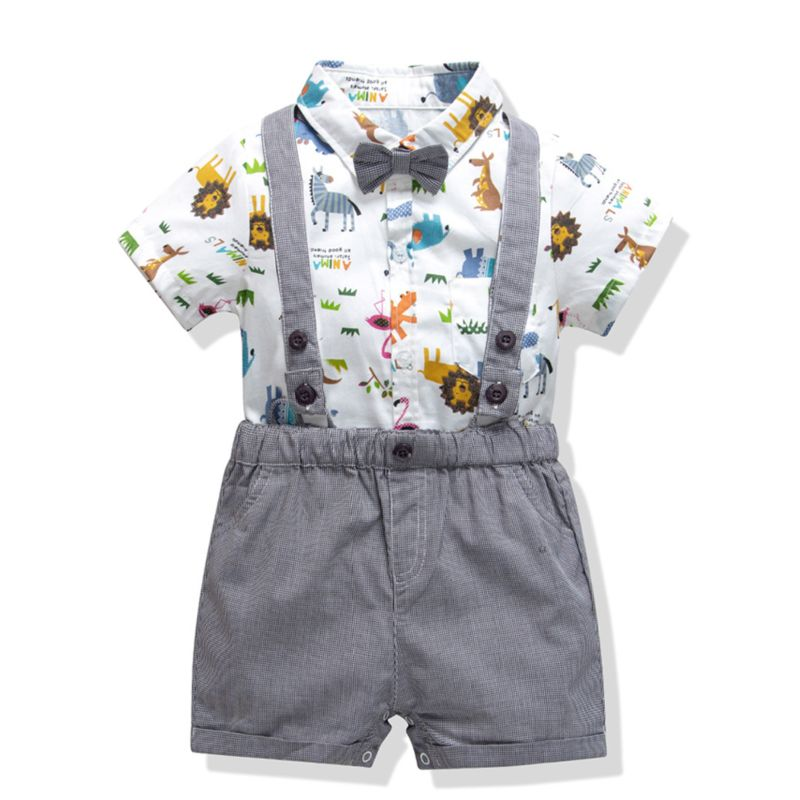 4-Piece Infant Boys Summer Clothes Outfits Set Short-sleeved Turn Down Collar Cartoon Animal Romper+ Braces Shorts + Bow Tie