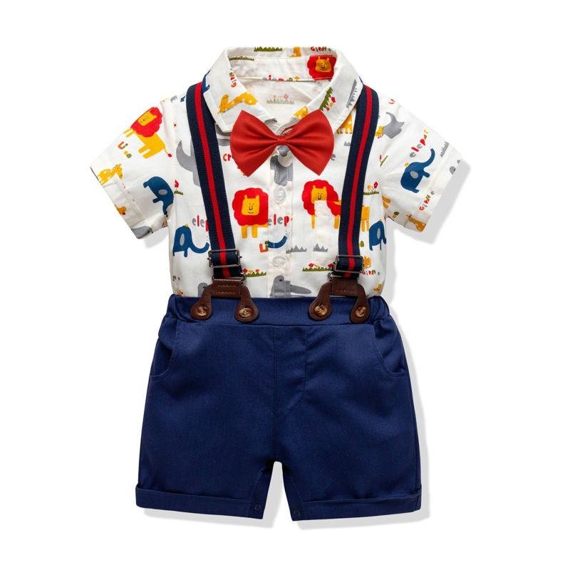 4-Piece Summer Infant Boys Clothing Outfits Set Short-sleeved Turn Down Collar Cartoon Animal Onesie+ Braces Shorts + Bow Tie