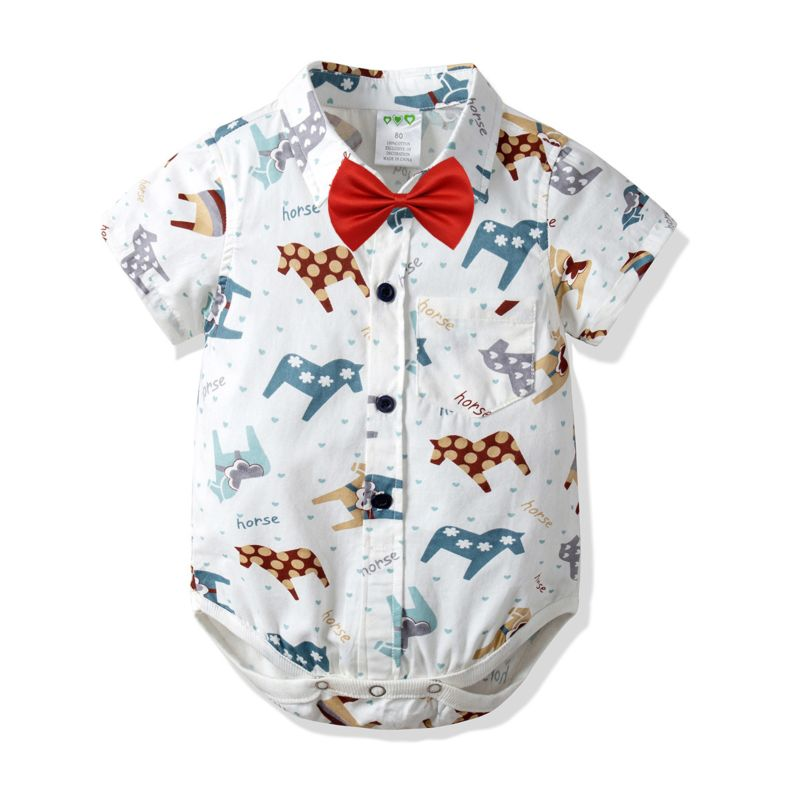 Summer Cute Cartoon Horse Short-sleeved Turn Down Collar Baby Bodysuit with Bow Tie