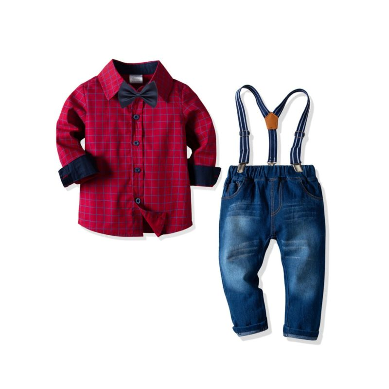 4-piece Spring Baby Little Boys Clothes Outfits Set Long-sleeved Checked Shirt+ Bow Tie +Adjustable Shoulder Straps Elastic Waist Casual Jeans
