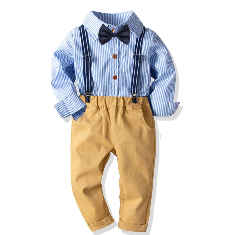 4-Piece Baby Toddler Big Boys British Style Gentleman Birthday Party Clothes Outfits Set Striped Long-sleeved Shirt+Bowtie+Adjustable Shoulder Straps Elastic Waist Casual Trousers
