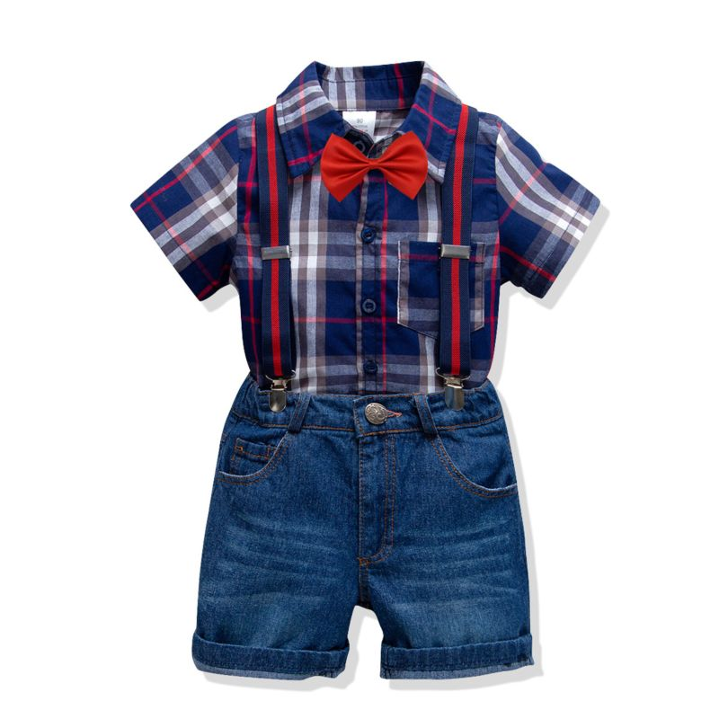 4-Piece Summer British Style Toddler Big Boys Clothes Outfits Set Plaid Short-sleeved Shirt +Bowtie+Adjustable Shoulder Straps Denim Short Pants