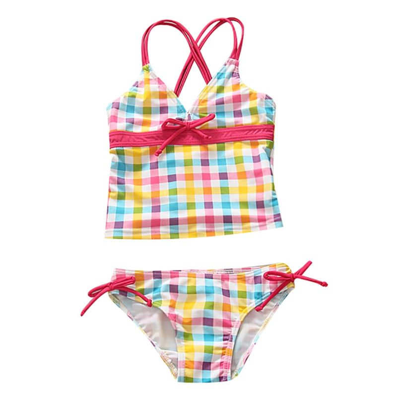 2-Piece Baby Toddler Girl Checked Cross Tankini Bikini Set
