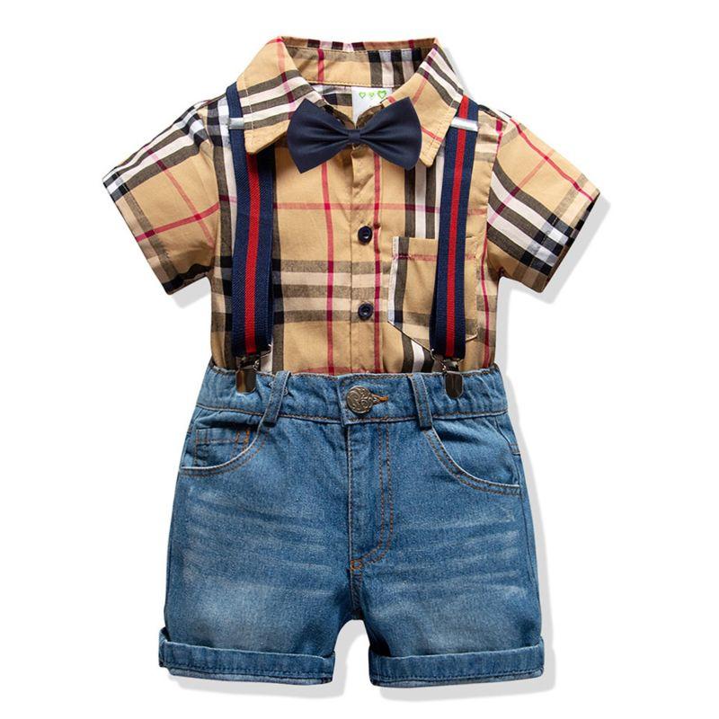 4-Piece Summer Classic British Style Toddler Big Schoolboys Clothing Outfits Set Checked Short-sleeved Shirt +Bowtie+Adjustable Shoulder Straps Denim Short Pants