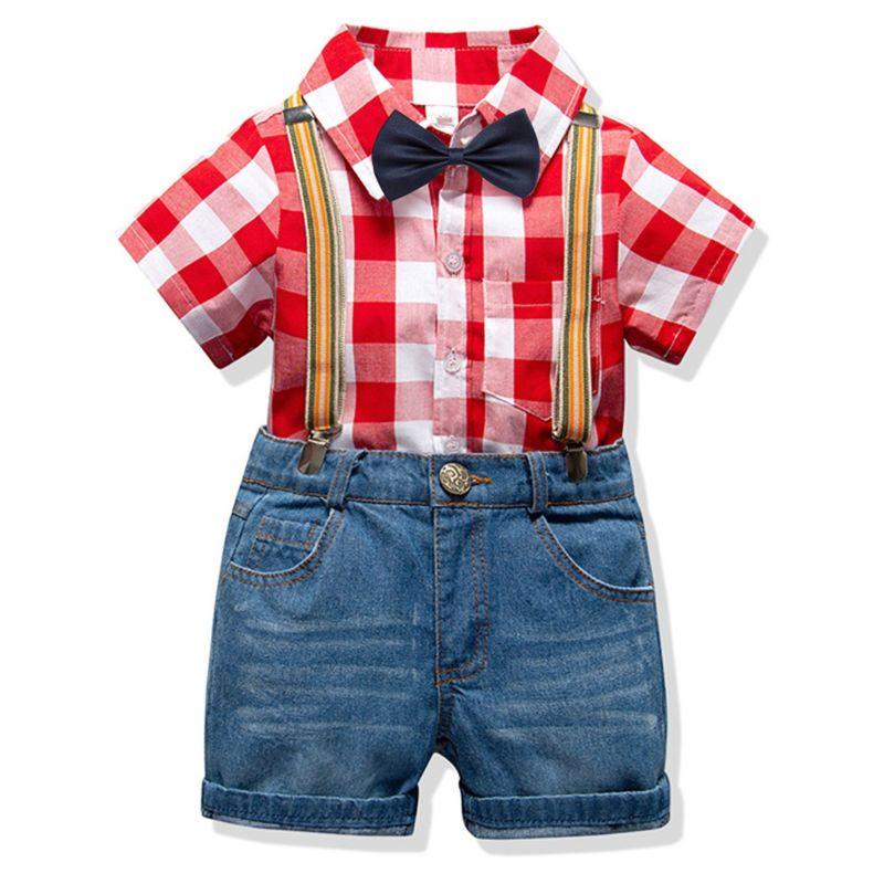 4-Piece Summer Classic British Style Toddler Big Schoolboys Clothes Outfits Set Gingham Short-sleeved Shirt +Bowtie+Adjustable Shoulder Straps Denim Short Pants