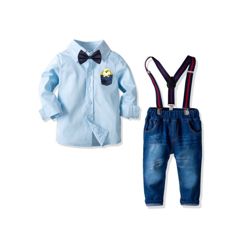 4-Piece Toddler Kids Baby Clothes Outfits Set Dog Printed Blue Long-sleeved Shirt + Bow Tie +Adjustable Shoulder Straps Denim Pants
