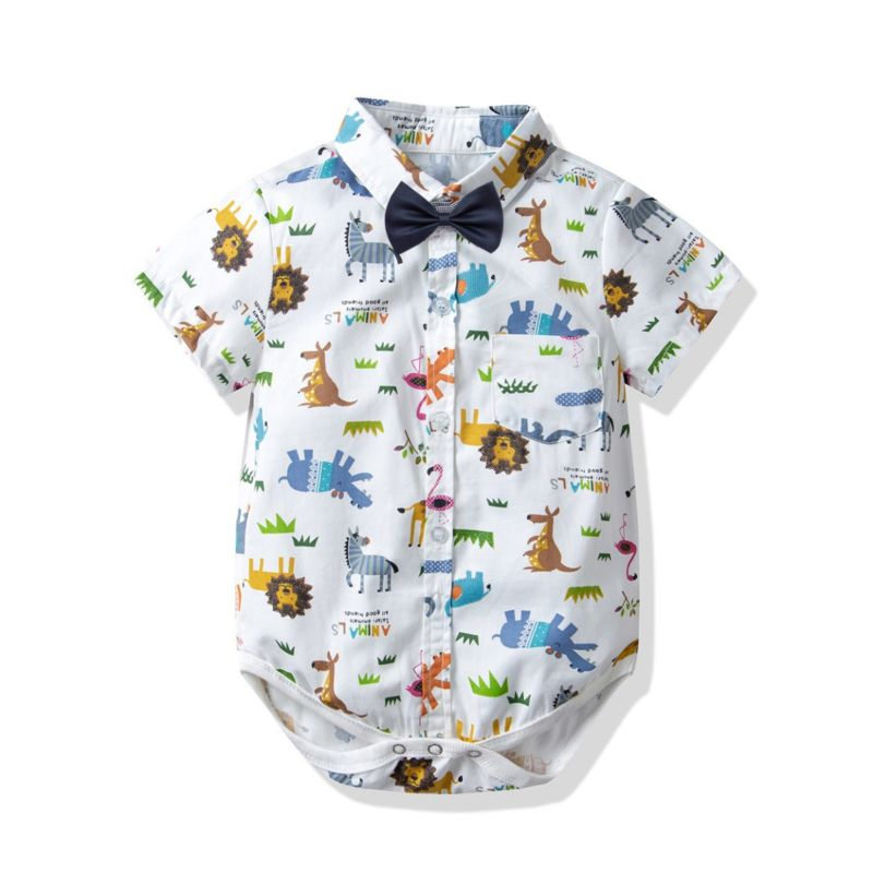 Cute Cartoon Animal Turn Down Collar Infant Romper Short-sleeved with Bowtie
