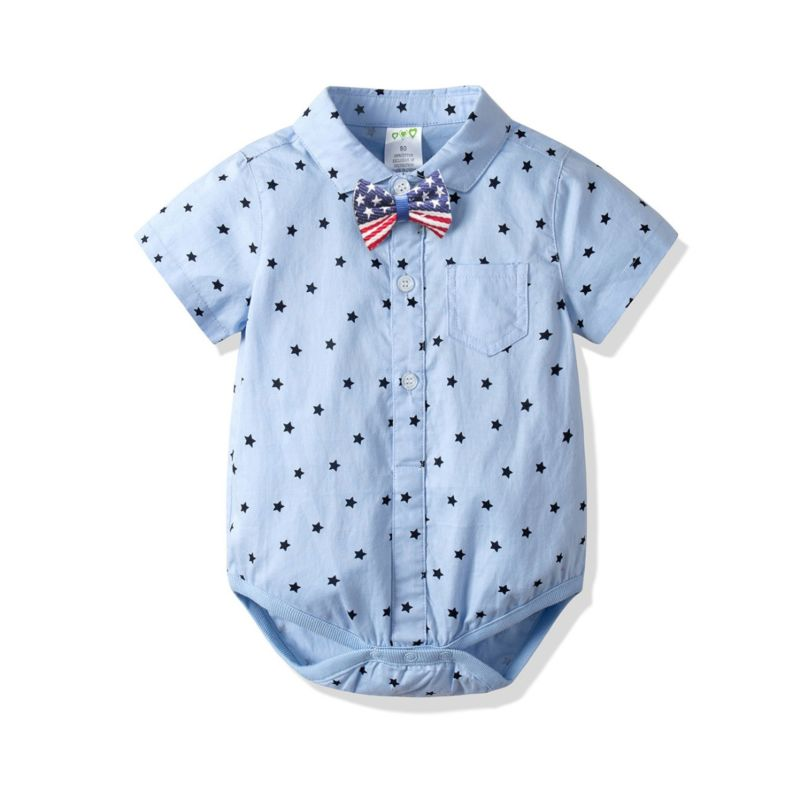 Summer Star Turn Down Collar Short-sleeved Baby Bodysuit with Bow Tie