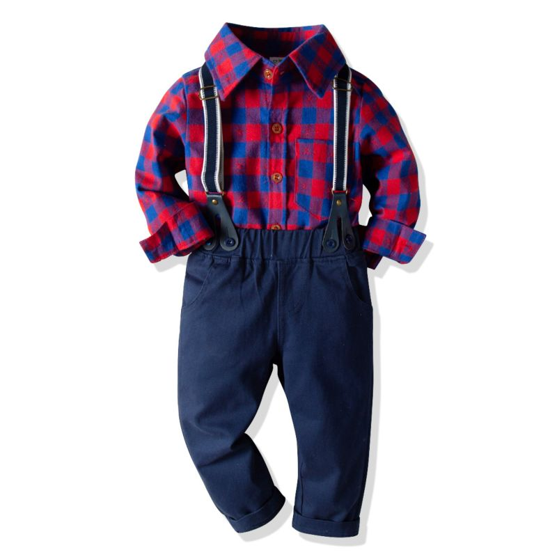 4-Piece Classic British Style Kids Birthday Party Clothing Outfits Set Gingham Long-sleeved Shirt + Bow Tie +Adjustable Shoulder Straps Casual Pants