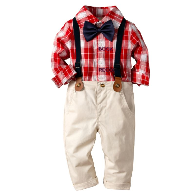 4-Piece Classic British Style Toddler Boys Birthday Party Clothes Outfits Set Plaid Long-sleeved Shirt + Bow Tie +Adjustable Shoulder Straps Casual Trousers