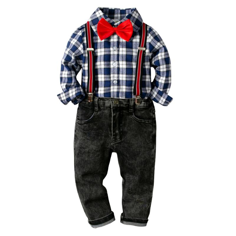 4-piece Spring Little Big Boys Causal Clothing Outfits Set Long-sleeved Gingham Shirt+ Bow Tie +Adjustable Shoulder Straps Black Jeans