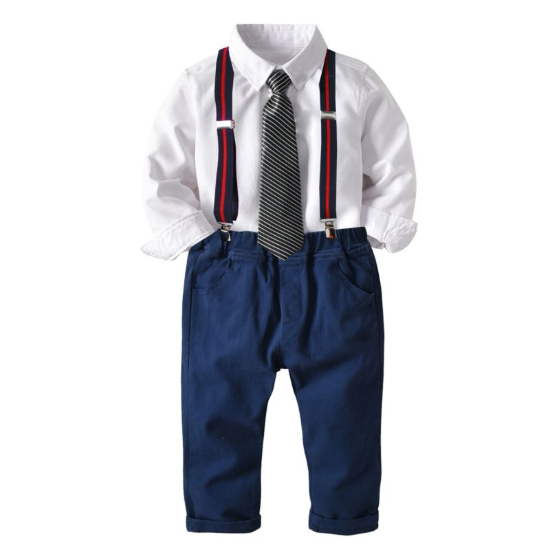 4-Piece Kids Infant Boy Causal Suit Long-sleeve Shirt + Tie + Adjustable Shoulder Straps Casual Trousers