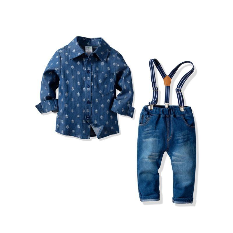 3-Piece Spring Toddler Big Kids Casual Denim Clothes Outfits Set Printed Denim Shirt + Adjustable Shoulder Straps Jeans