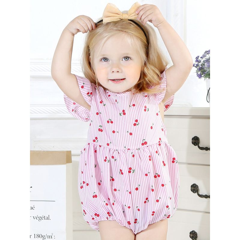 Cherry Striped Short Flutter Sleeve Baby Girl Bodysuit Romper Pink/Blue