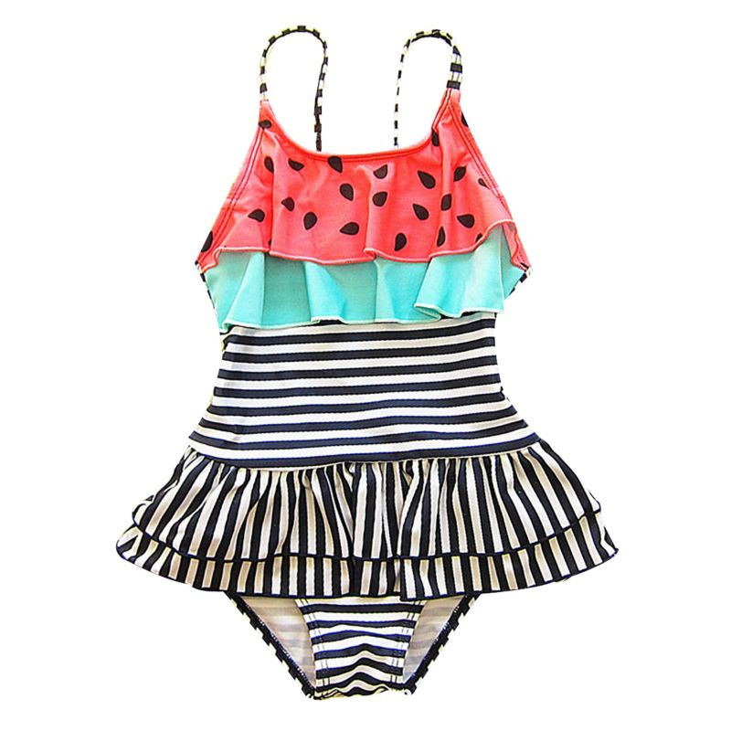 Toddler Big Girl Frilled Striped One Piece Swimwear Kids Hot Spring Wear