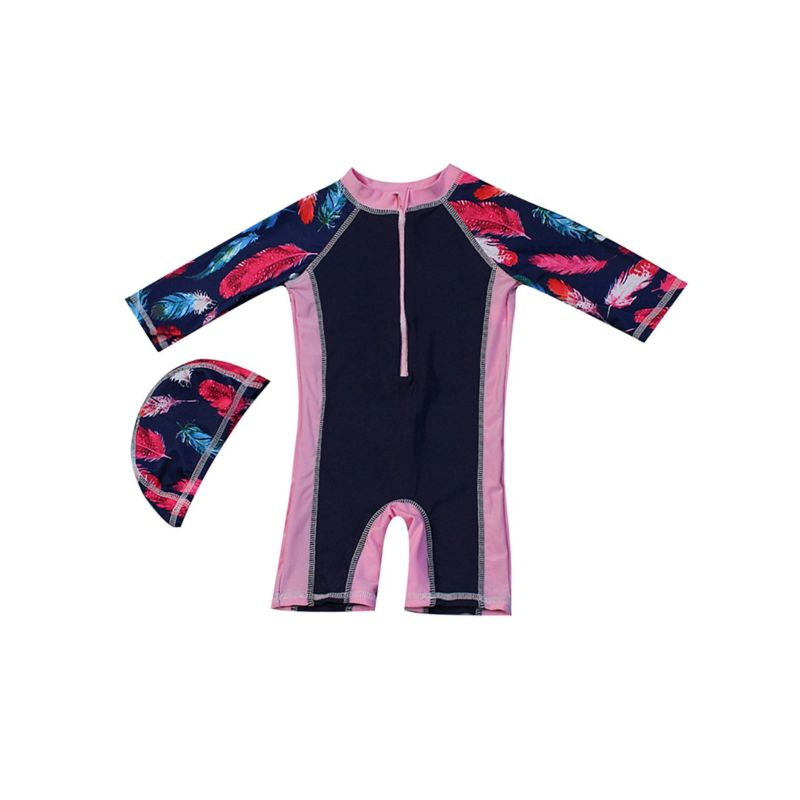 Toddler Big Girl Feather Print Diving Suit with Swim Hat