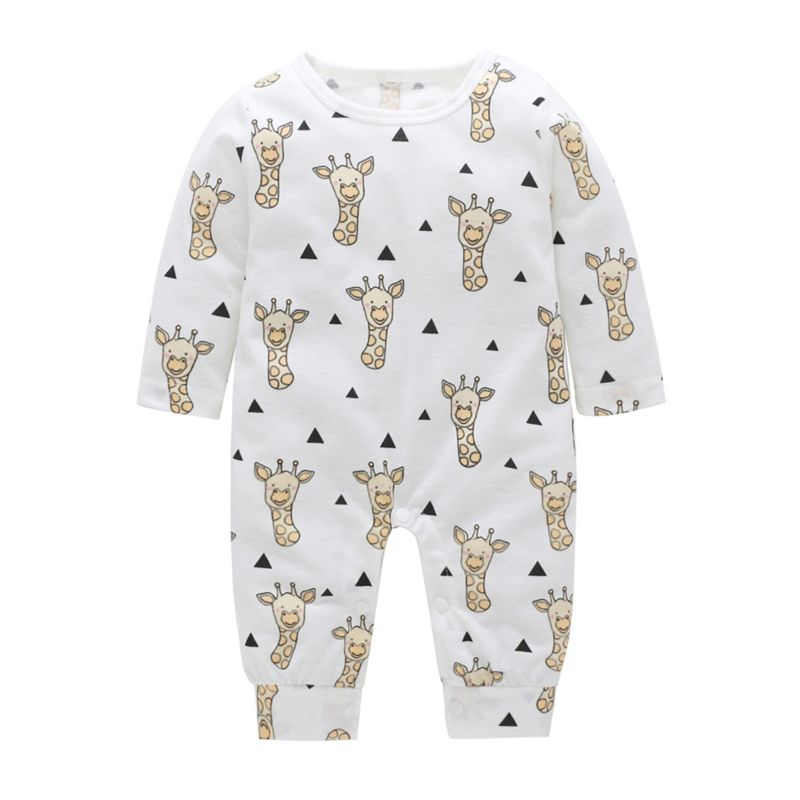 Cute Cartoon Giraffe Long-sleeved Infant Overalls