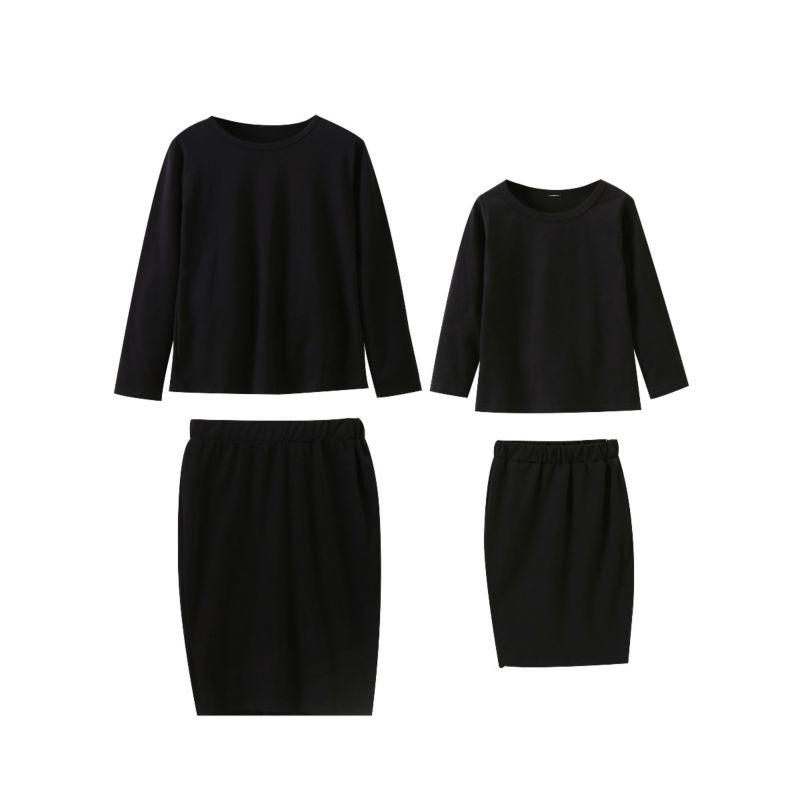 2-Piece Mom & Me Spring Clothes Outfits Set Black Long-sleeved T-shirt + Pencil Skirt