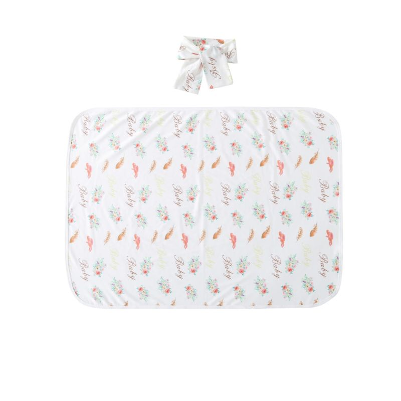 2-Piece Flower Feather Print Baby Blanket + Headband Set