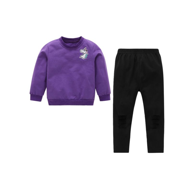 2-Piece Baby Little Girl Clothes Streetwear Outfits Set Unicorn Purple Jumper + Black Frayed Pants
