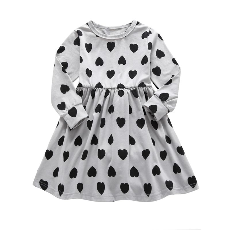 Fashion Spring Baby Little Girl Love Heart Print Long-sleeved Dress