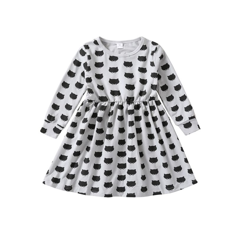 Fashion Spring Infant Little Girl Printed Long-sleeved Casual Dress