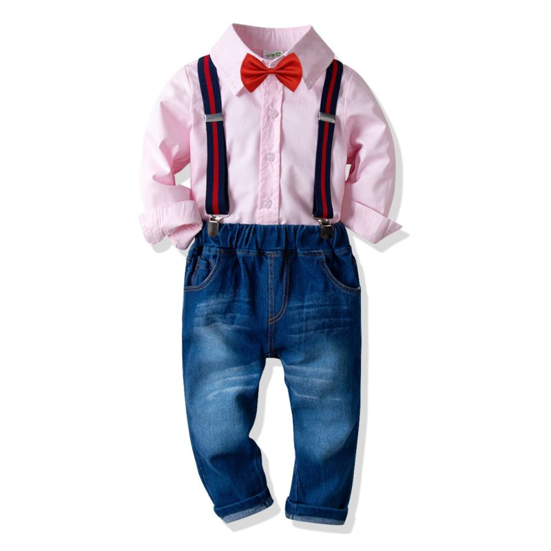 4-Piece Baby Little Boys Spring Casual Clothing Outfits Set Pink Long-sleeved Button-down Shirt+Bowtie+Adjustable Shoulder Straps Elastic Waist Jeans