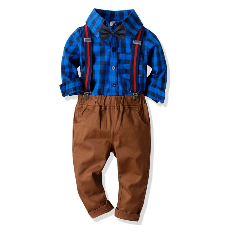 4-Piece Spring Boys Casual Clothes Outfits Set Plaid Long-sleeved Button-up Shirt+Bowtie+Adjustable Shoulder Straps Elastic Waist Casual Trousers