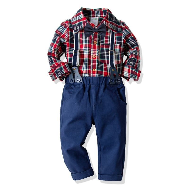 4-Piece Spring Boys Casual Clothes Outfits Set Gingham Long-sleeved Button-down Shirt+Bowtie+Adjustable Shoulder Straps Elastic Waist Trousers