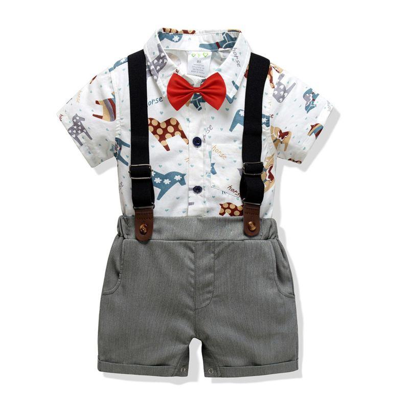 4-Piece Summer Cute Baby Boys Clothes Outfits Set Horse Short-sleeved Bodysuit +Bowtie+Adjustable Shoulder Straps  Short Pants