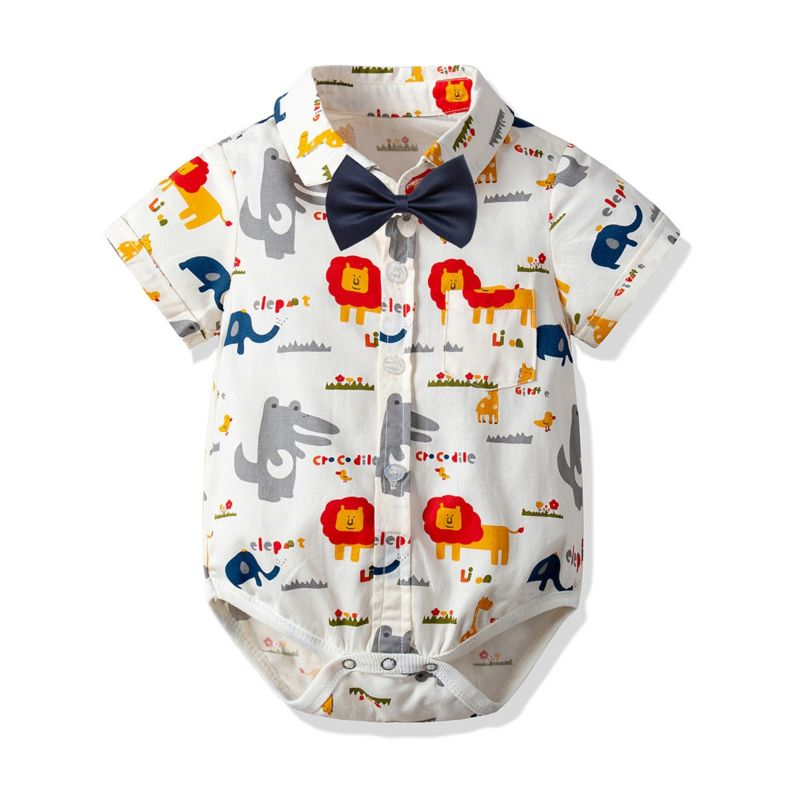 Adorable Cartoon Animal Turn Down Collar Baby Boy Short-sleeved Romper with Bowtie