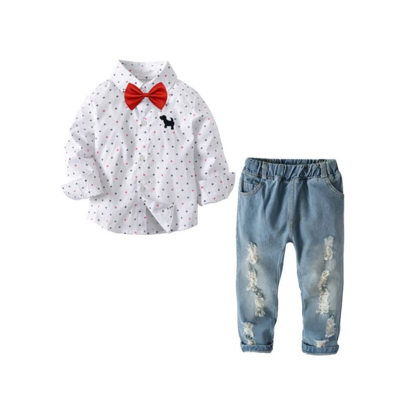 3-piece Spring Autumn Toddler School Boys Casual Clothing Outfits Set Polka Dots Dog Long-sleeved Button-up Shirt+Bow Tie+Ripped Jeans