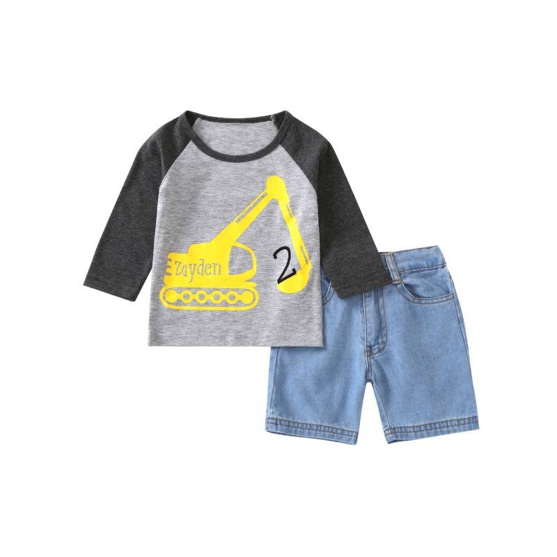 2-Piece Baby Little Boy Cartoon Excavator Long-sleeved T-shirt + Denim Short Pants Set