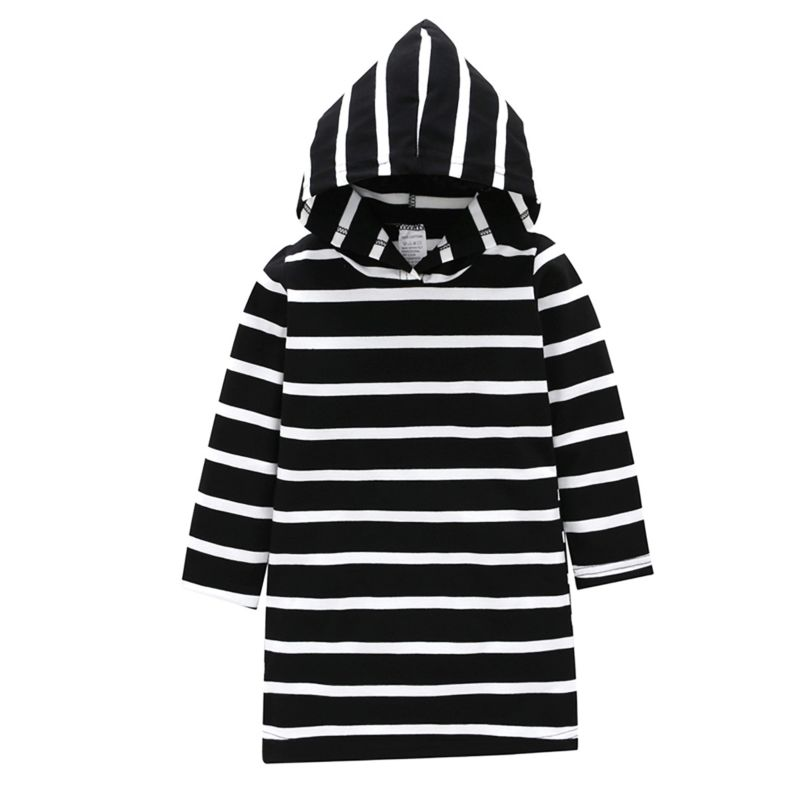 Striped Baby Little Girl Casual Hoodie Shift Dress Long-sleeved
